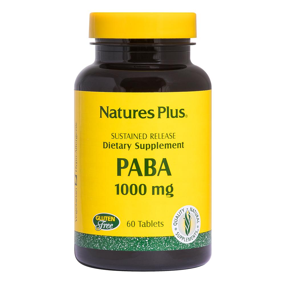Natures Plus PABA (Para-Amino-Benzoe-Säure) 1000mg 60 Tabletten S/R (110,4g)