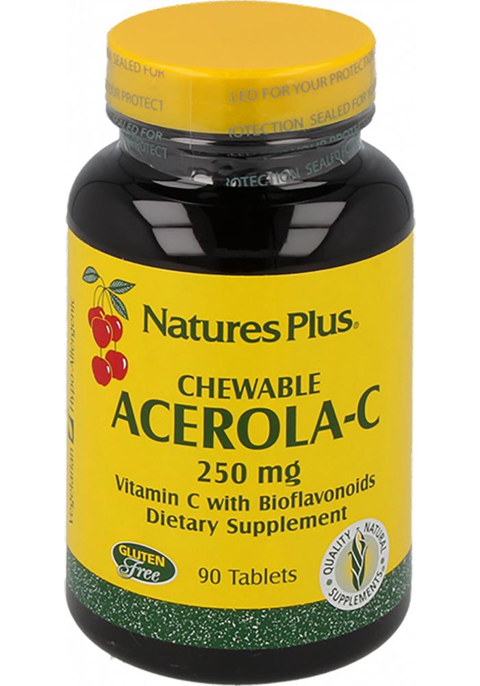 Natures Plus Chewable Acerola-C Complex Vitamin C 250mg 90 Kautabletten (144,2g)