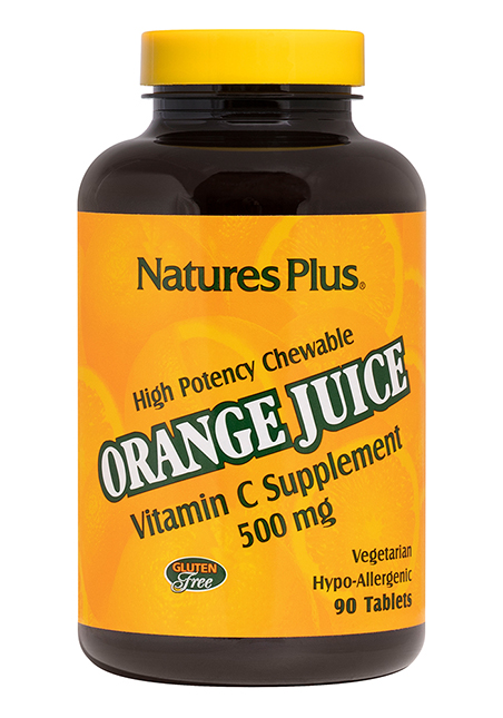 Natures Plus Chewable Orange Juice Vitamin C 500mg 90 Lutschtabletten
