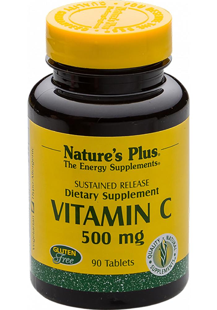 Natures Plus Vitamin C 500mg w/Rose Hips [Hagebutte] 90 Tabletten S/R (76g)
