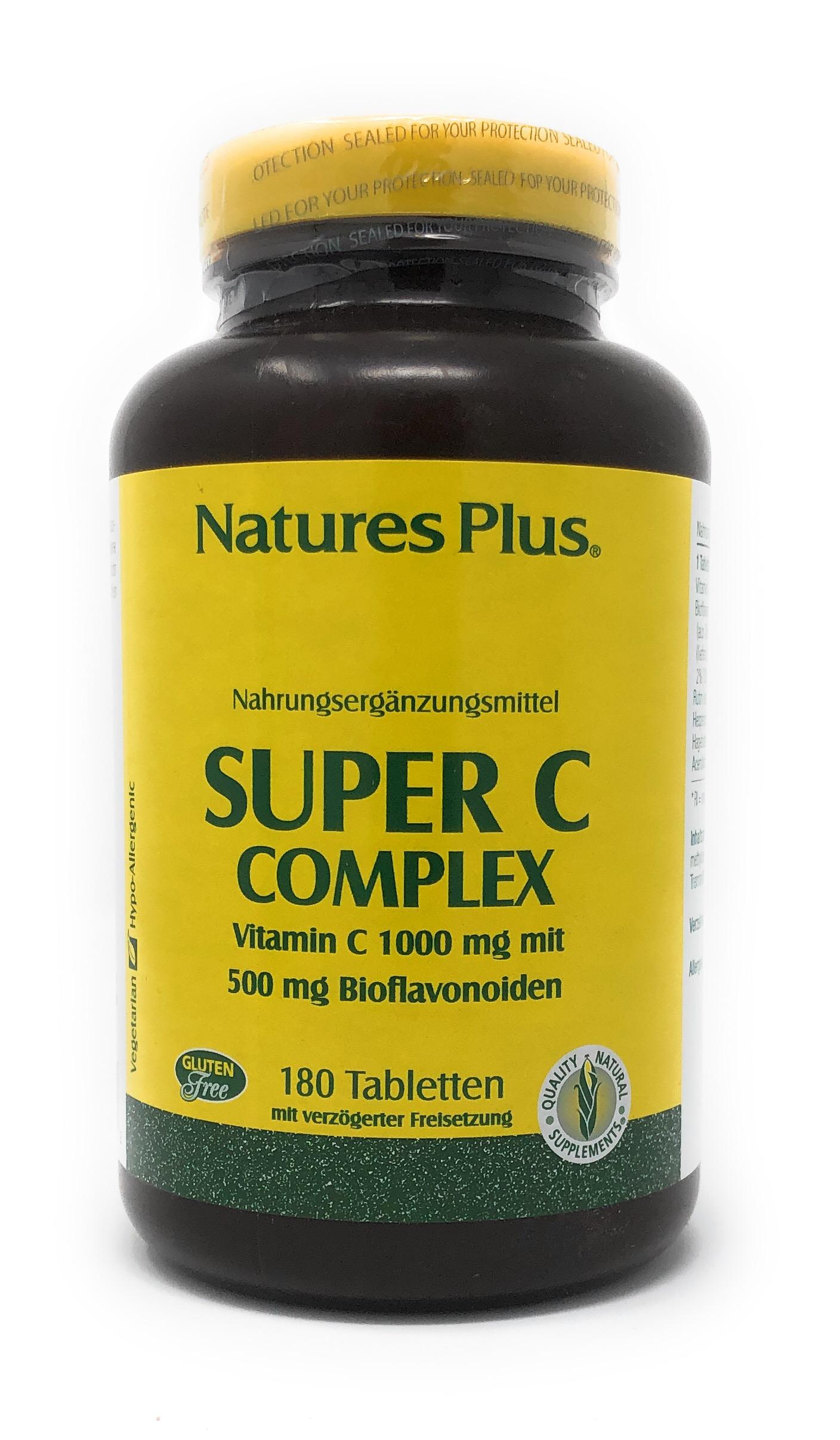 Natures Plus Super C Complex 1000mg S/R 180 Tabletten (404g)