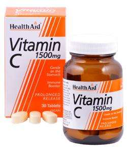 Health Aid Vitamin C 1500mg S/R (verz. Freisetzung) 100 Tabletten (vegan)