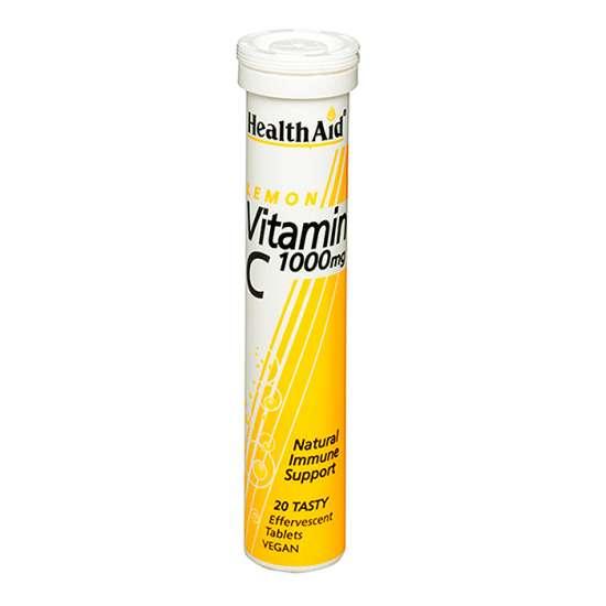 Health Aid Vitamin C 1000mg - Effervescent  (Lemon Flavour) 20 BrauseTabletten