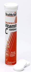 Health Aid Vitamin C 1000mg - Effervescent (Orange Flavour)  20 BrauseTabletten