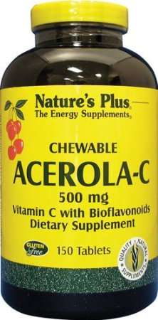 Nature's Plus Acerola-C Vitamin C 500mg 150 Kautabletten (520g)