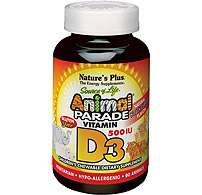 Natures Plus Animal Parade® Vitamin D3 500 IU 90 KauTabletten (163,3g)