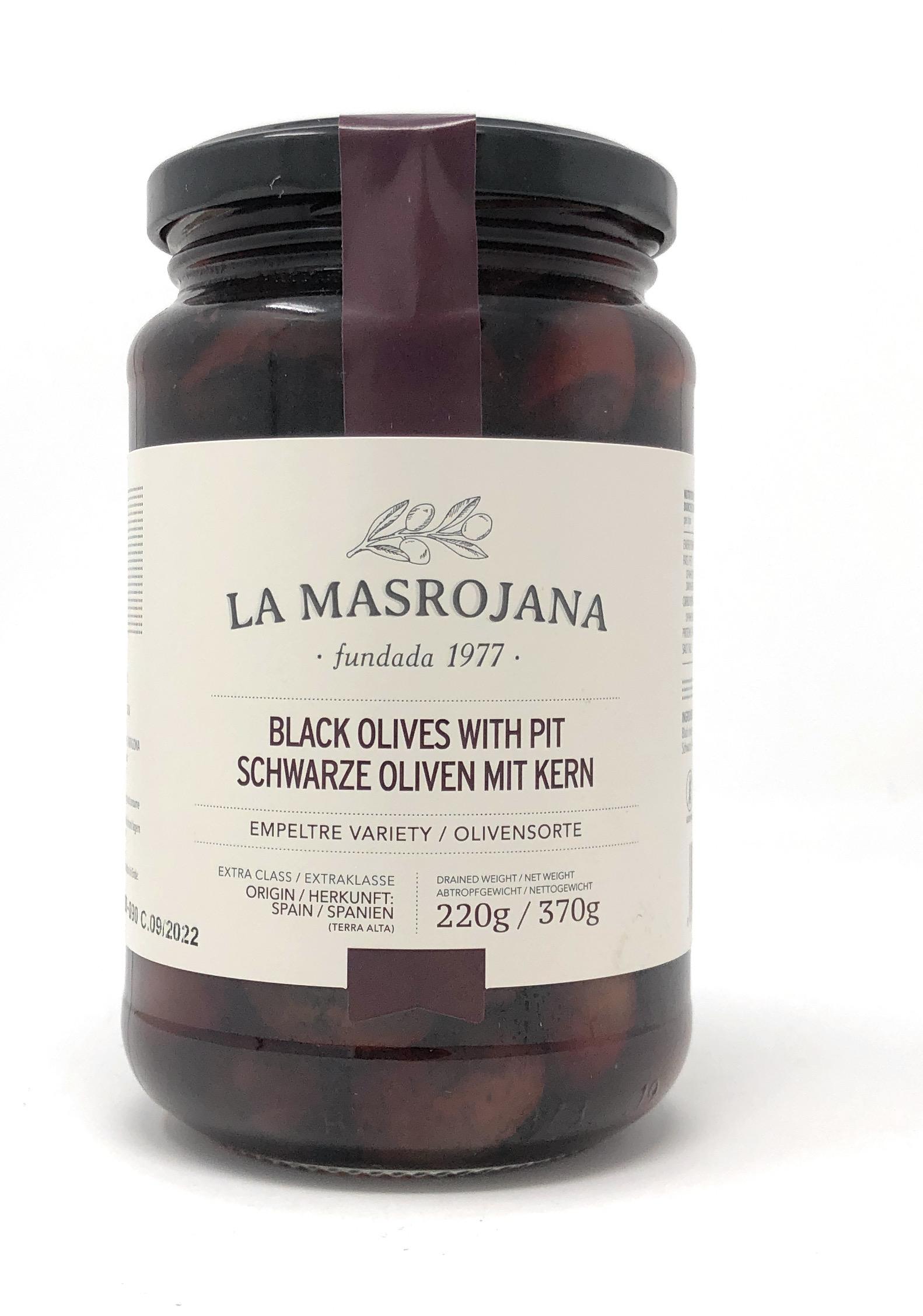 La Masrojana Schwarze Empeltre-Oliven aus Aragon mit Stein 220g Glas
