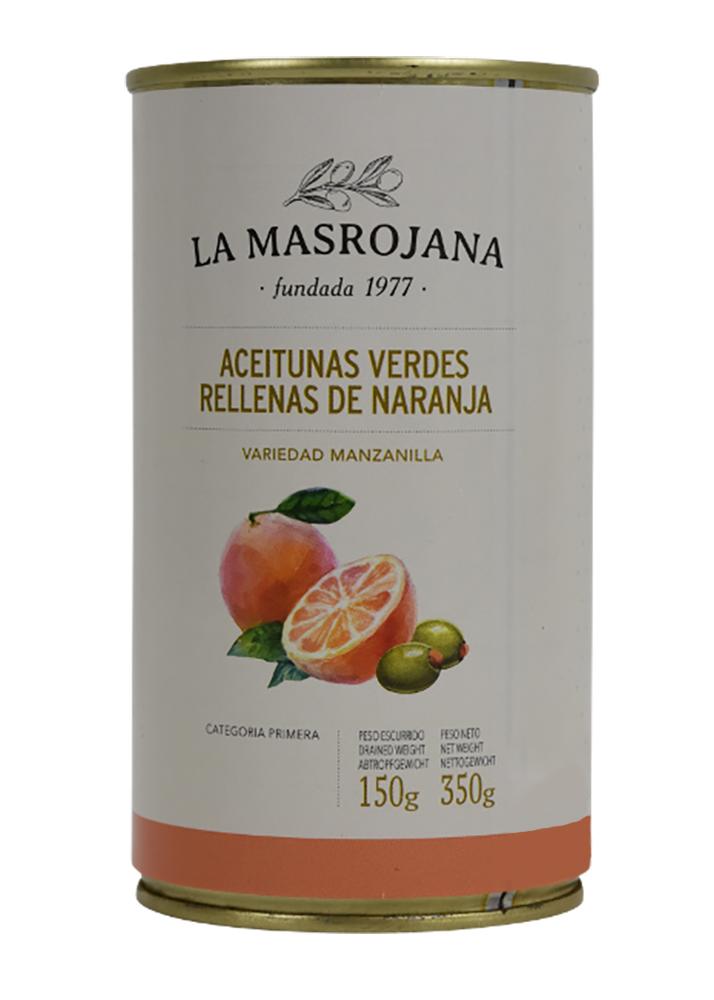 La Masrojana Grüne Manzanilla-Oliven gefüllt mit Orange 150g Dose