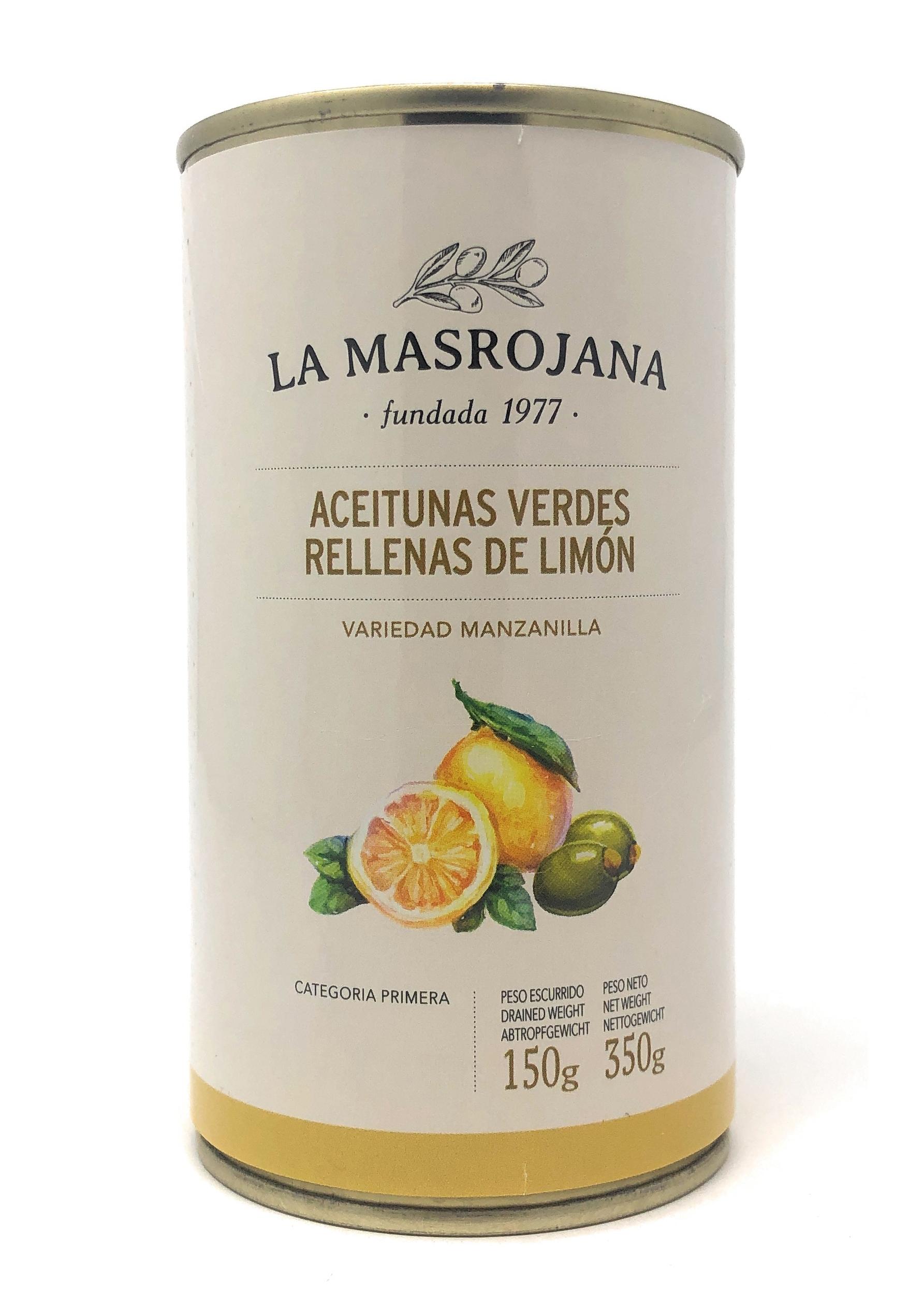 La Masrojana Grüne Manzanilla-Oliven gefüllt mit Zitrone 150g Dose