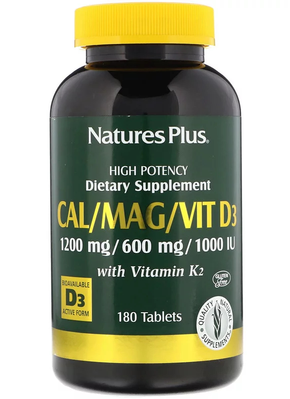 Natures Plus Cal/Mag/Vit. D3 with Vitamin K2 180 Tabletten