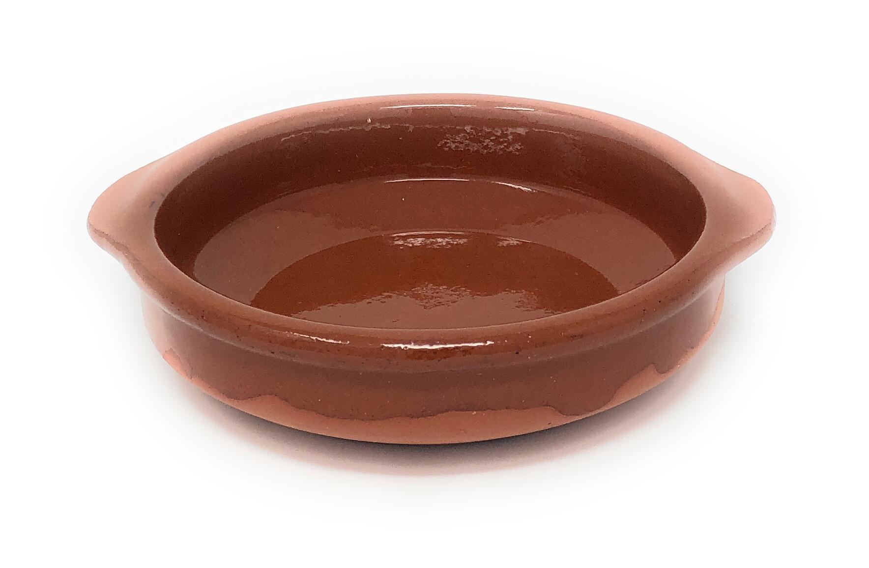 Alfareria Padilla Cazuela Tonschale rustikale Servierschale klein, traditionel, flach, rund, braun 14 cm