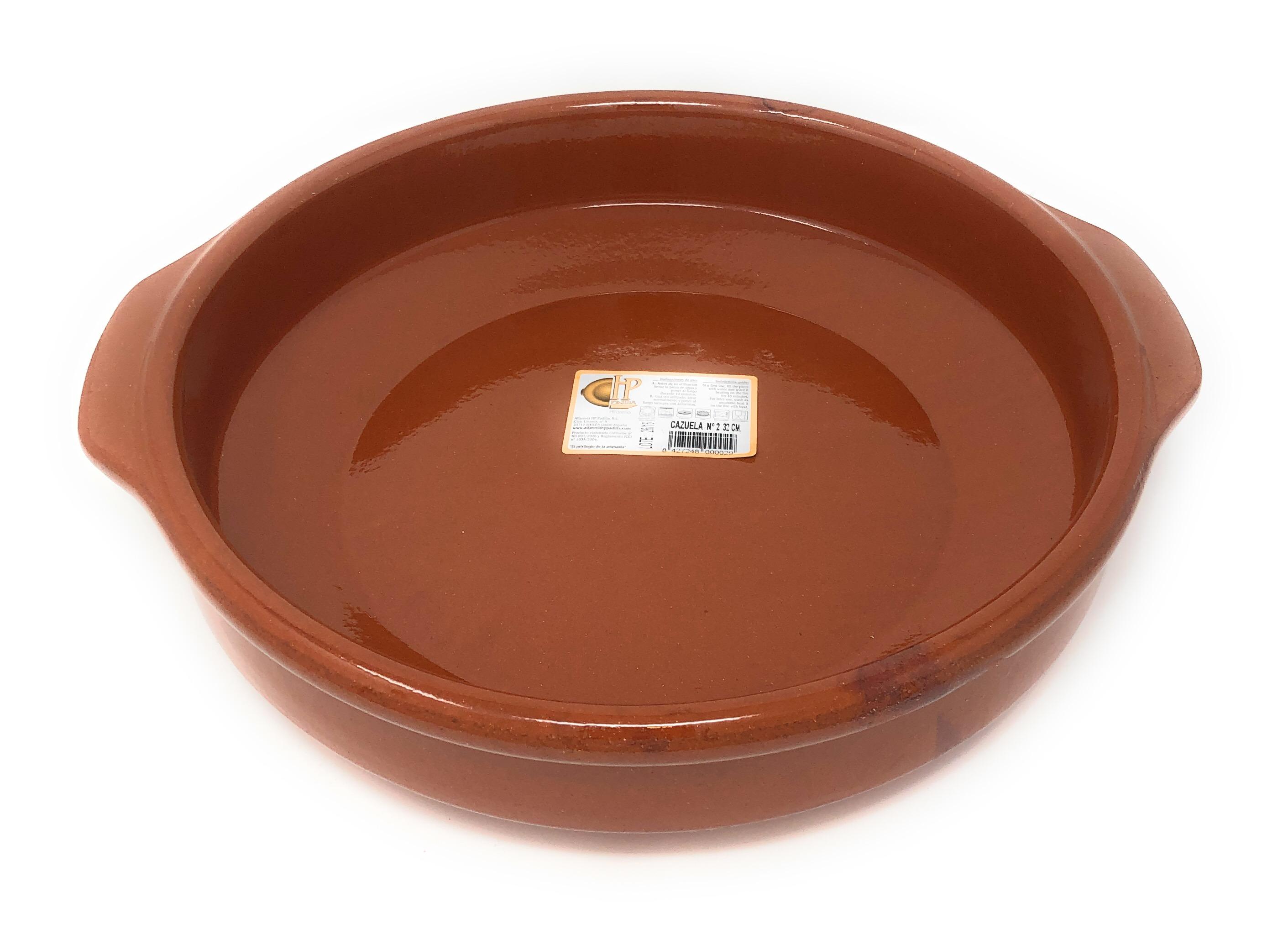 Alfareria Padilla Cazuela (Keramikschale), traditionel, flach, braun 32 cm