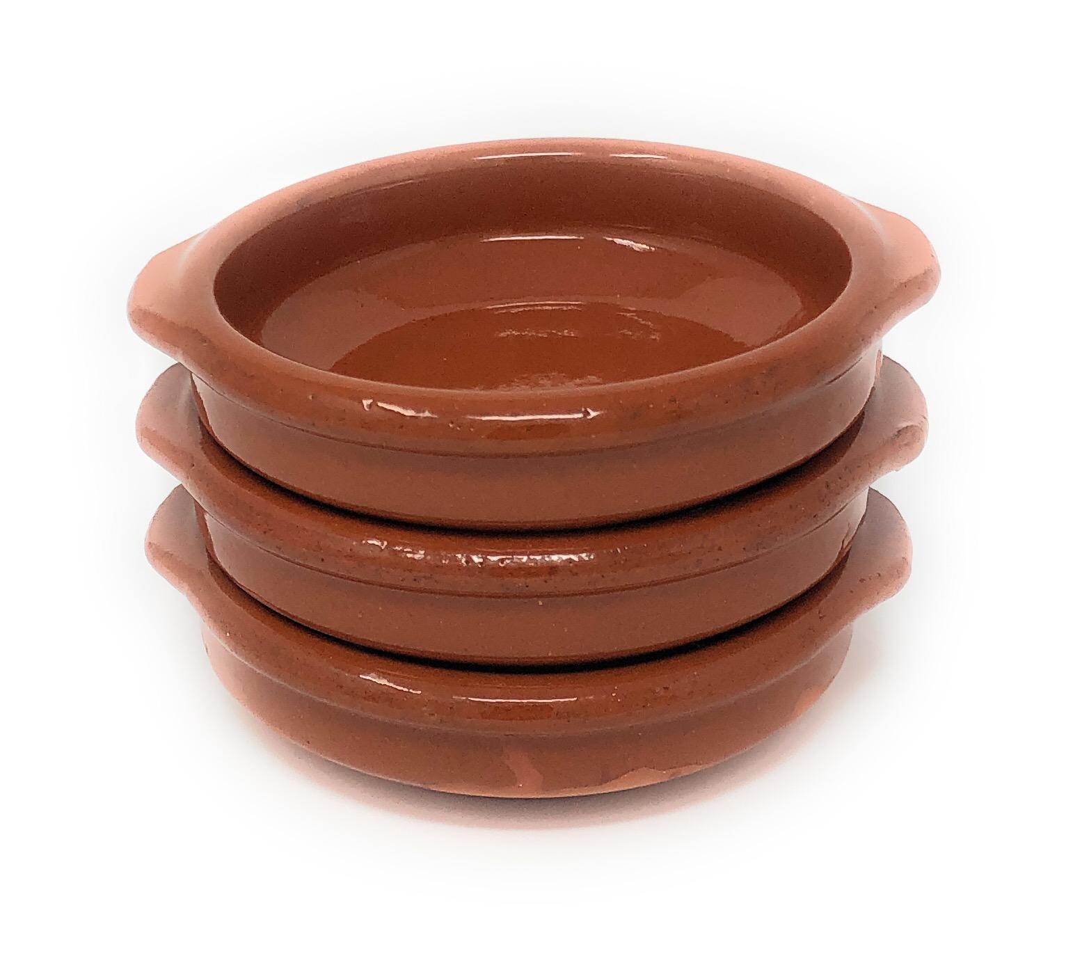 Alfareria Padilla 3er-Set Cazuela Tonschale rustikale Servierschale klein, traditionel, flach, rund, braun 12 cm   3x12cm