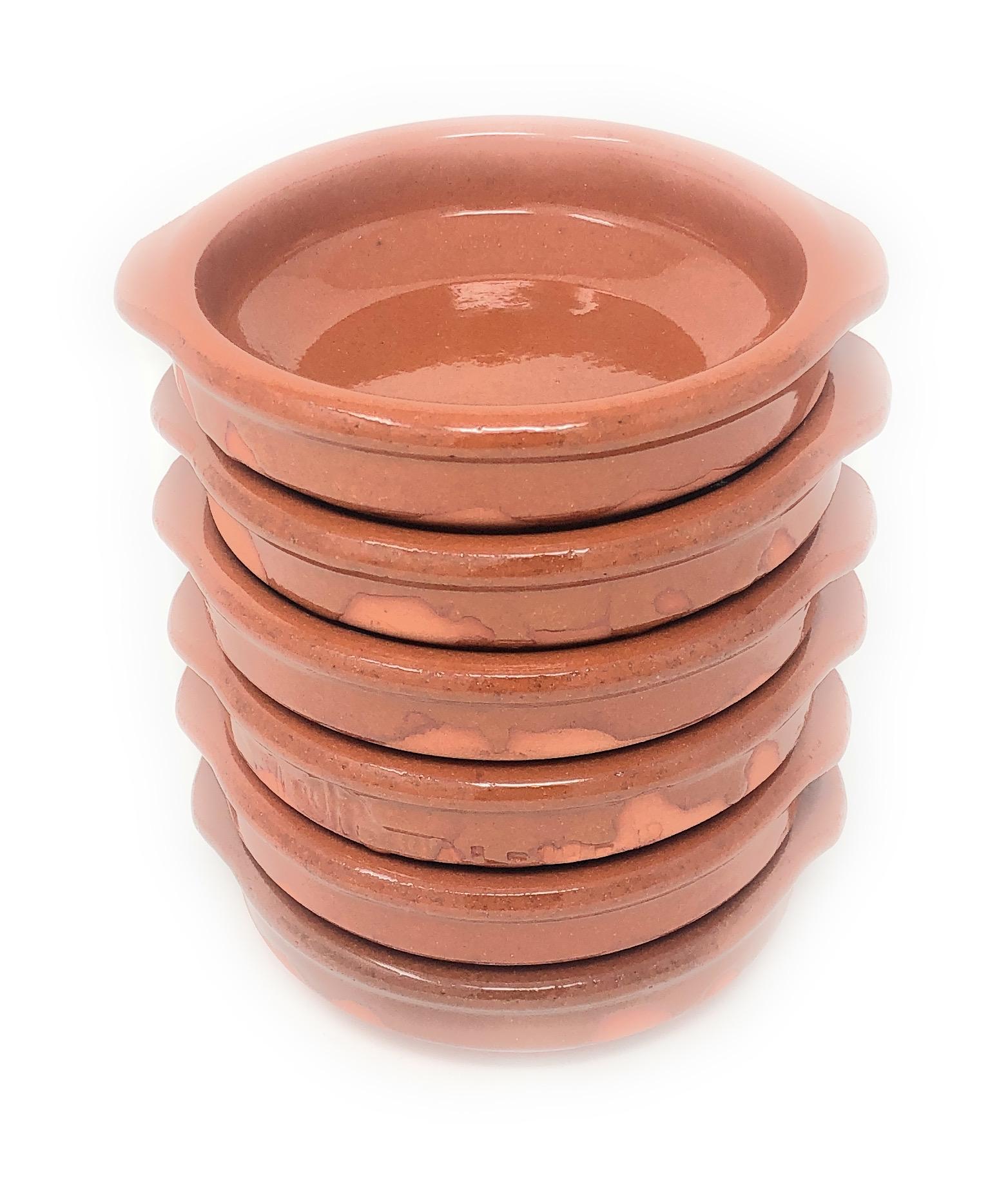 Alfareria Padilla 6er-Set Cazuela Tonschale klein, traditionel, flach, rund, braun 12 cm | 6x12cm