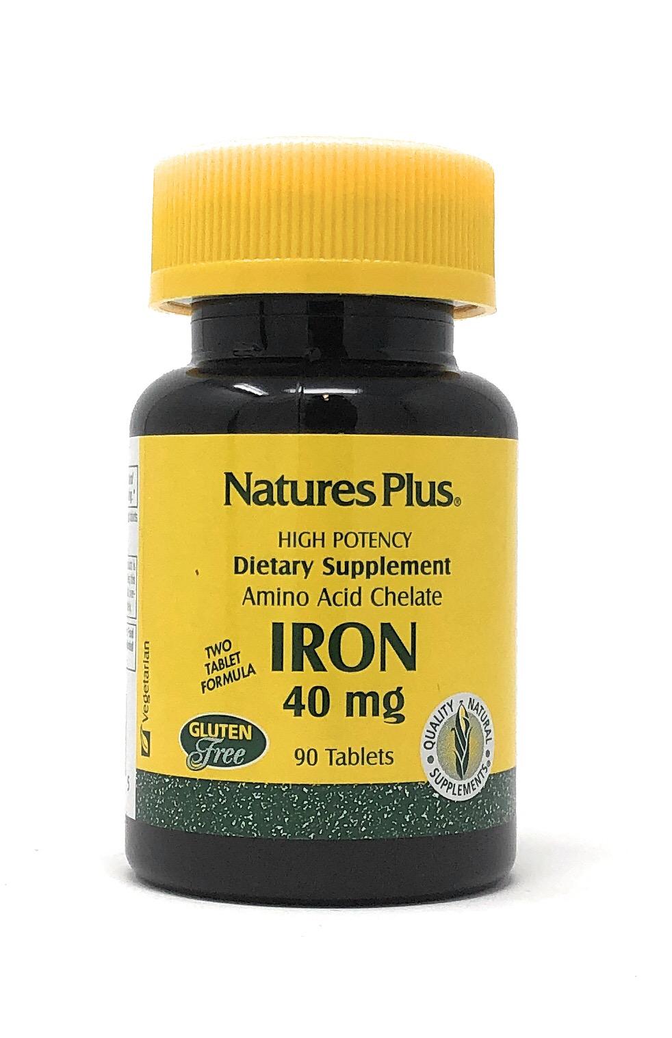 Natures Plus Iron 40mg (2 Tabletten) (als Eisen Aminosäurechelat) 90 Tabletten (51,2g)