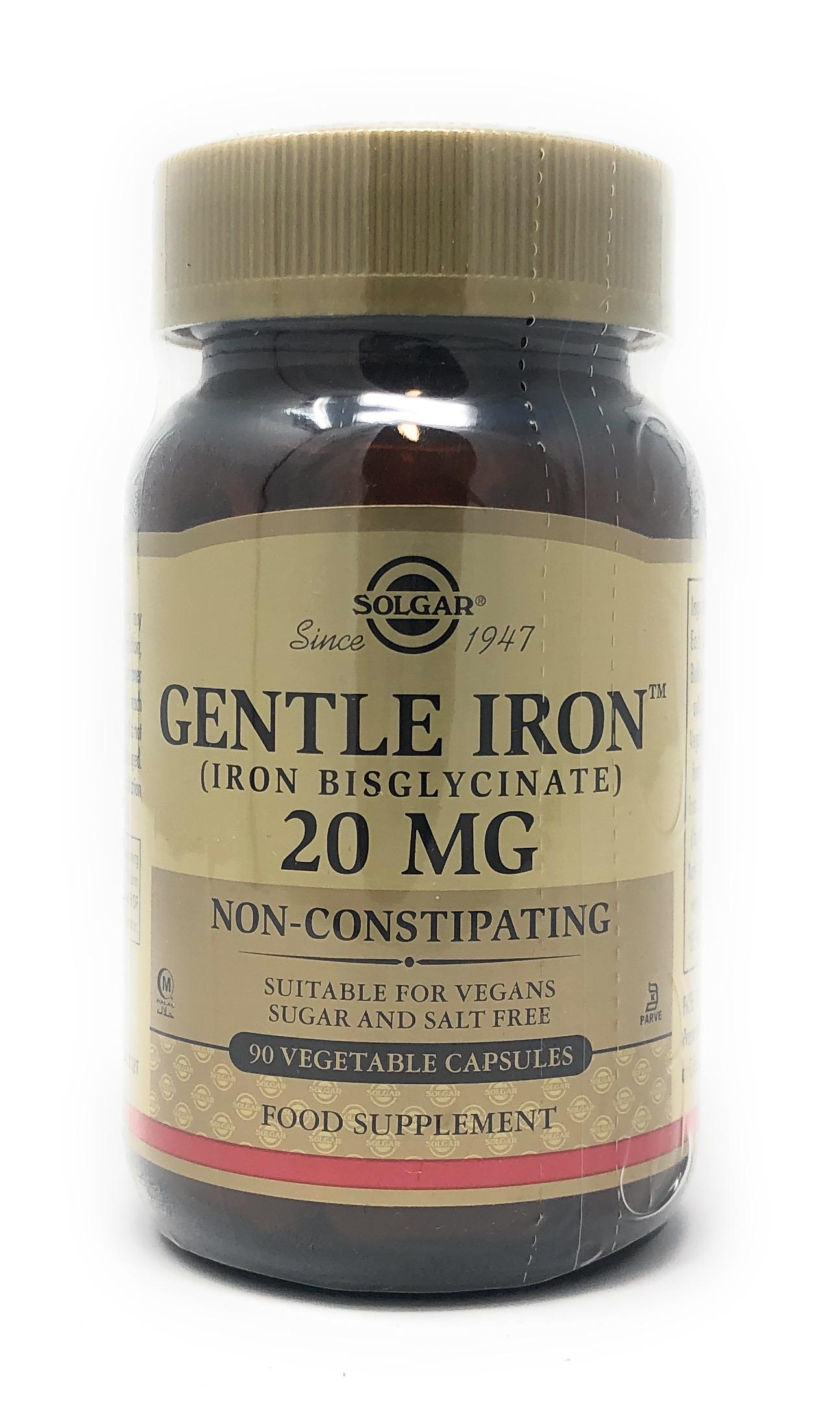 Solgar Gentle Iron 20mg (Eisen Bisglycinat) 90 veg. Kapseln (vegan)