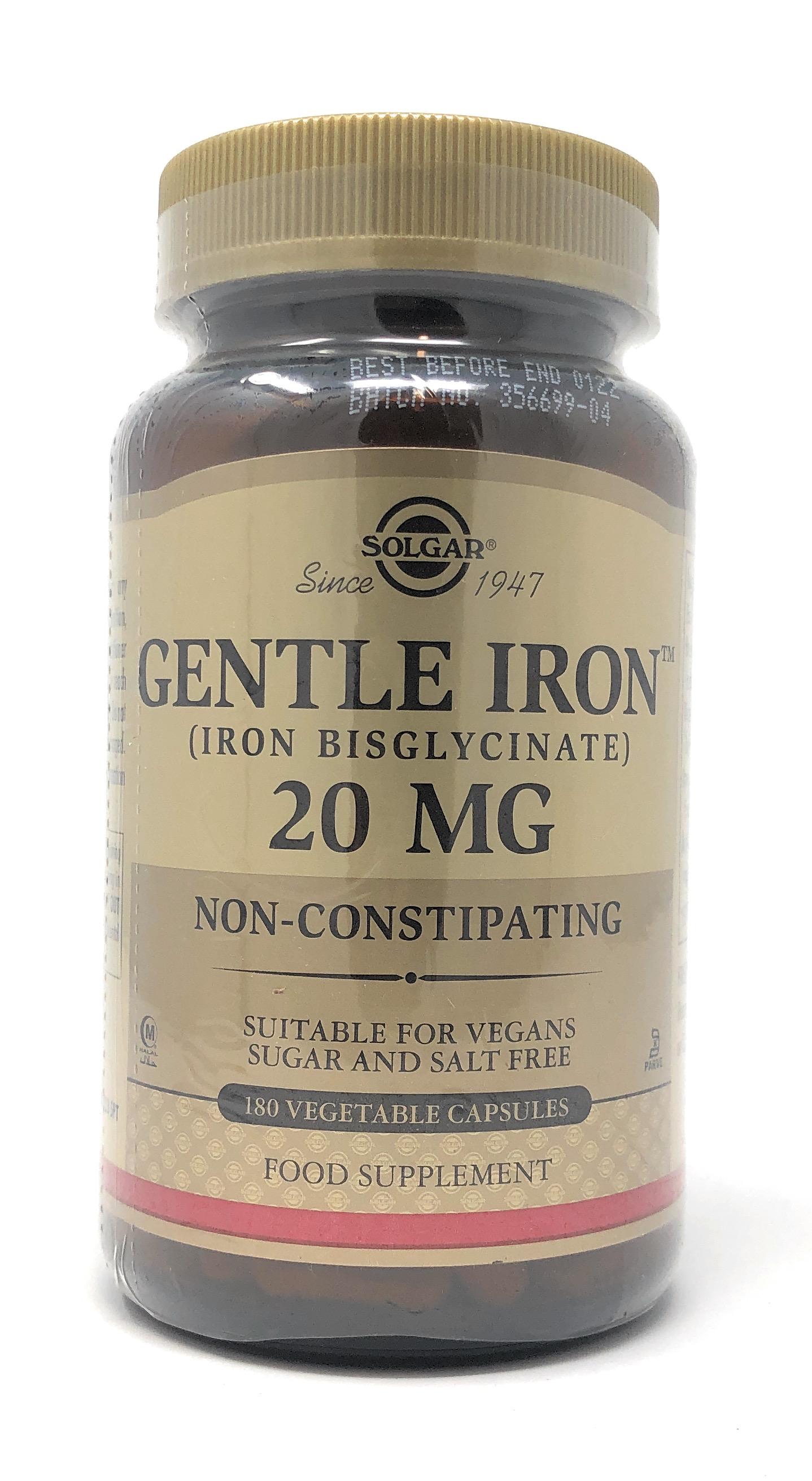 Solgar Gentle Iron 20mg (Eisen Bisglycinat) 180 veg. Kapseln (vegan)