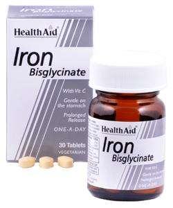 Health Aid Iron Bisglycinate (Iron with Vitamin C) (Eisen+Vit. C) 30 Tabletten