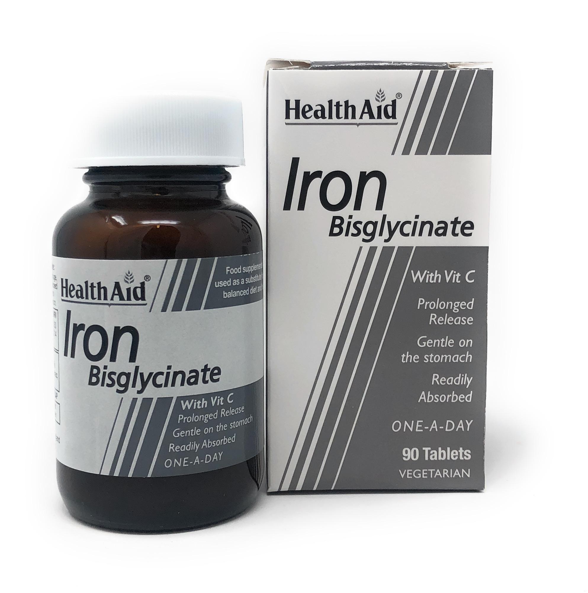 HealthAid Iron Bisglycinate (Iron with Vitamin C) (Eisen+Vit. C) 90 Tabletten