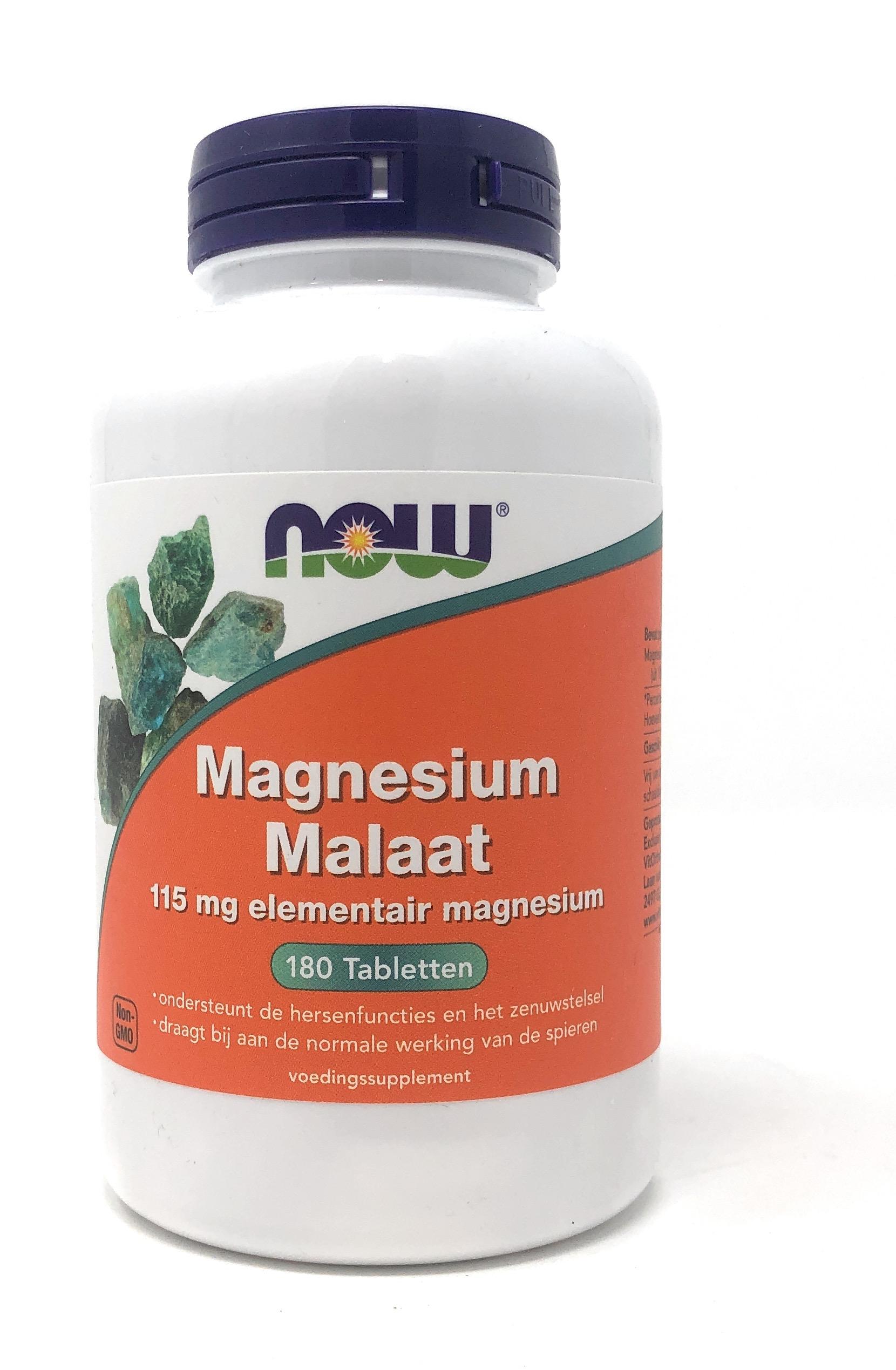 NOW Foods Magnesium Malaat (Mg-Malat) 180 Tabletten (vegan)