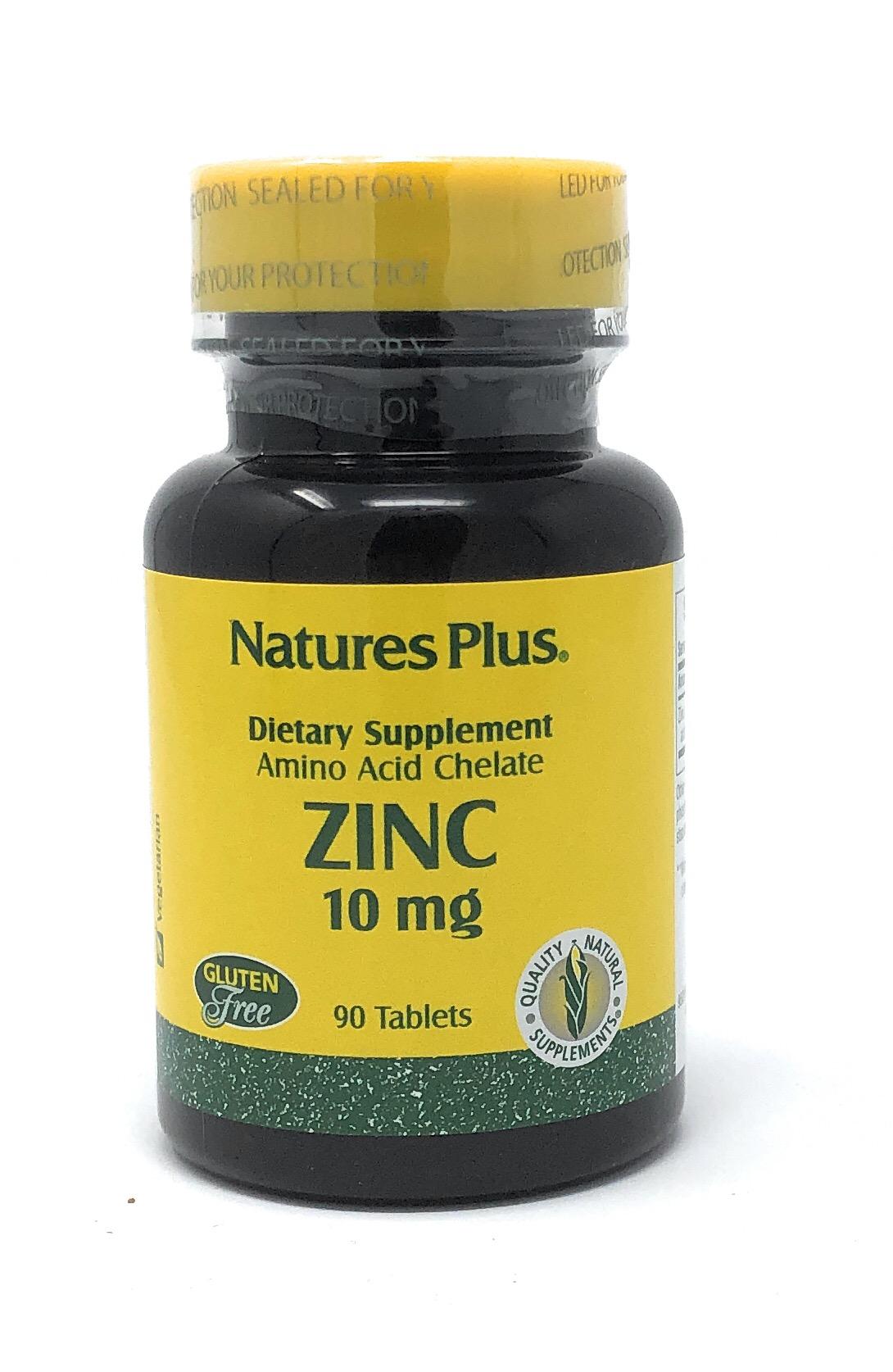 Natures Plus Zinc 10mg (Zink-Soja-Aminosäurechelat) 90 Tabletten (49,3g)