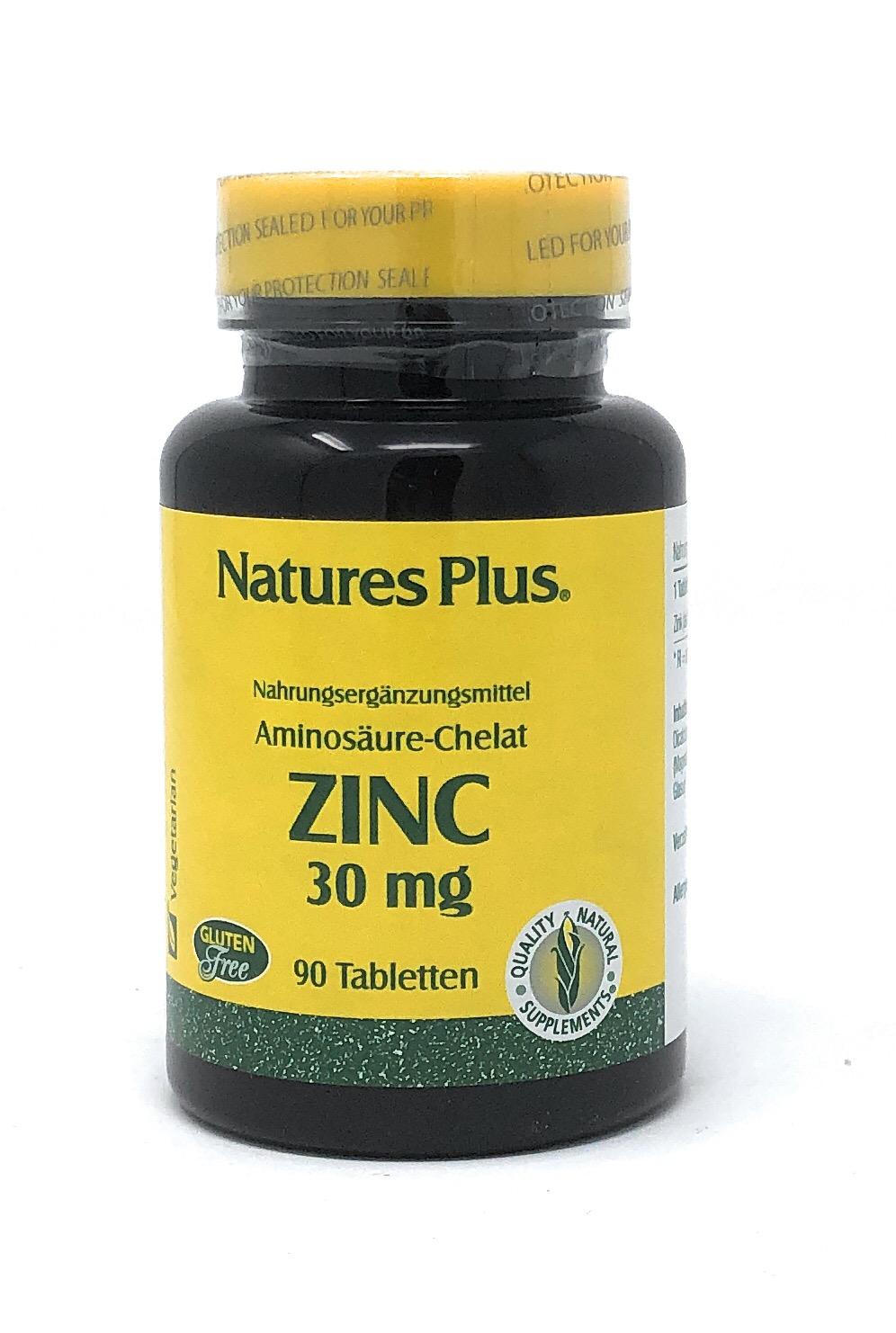 Nature's Plus Zinc 30 mg ( Zink-Soja-Aminosäurechelat) 90 Tabletten (56,5g)