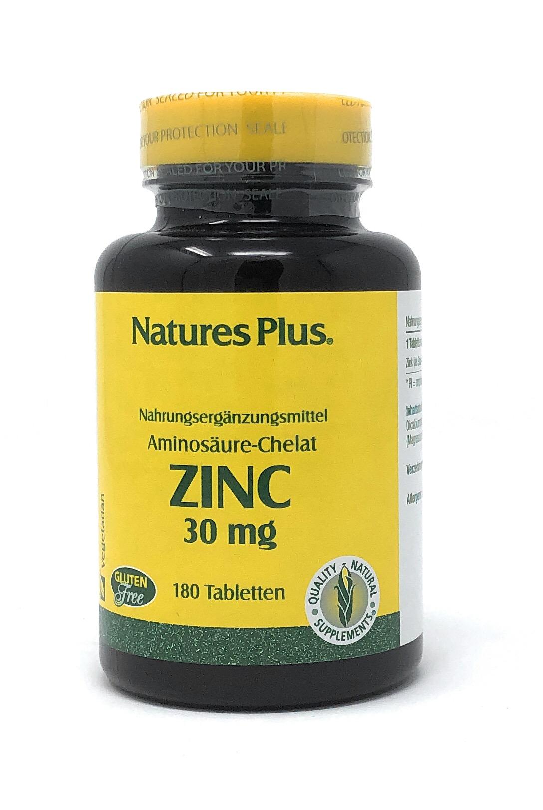 Natures Plus Zinc 30 mg ( Zink-Soja-Aminosäurechelat) 180 Tabletten (117g)