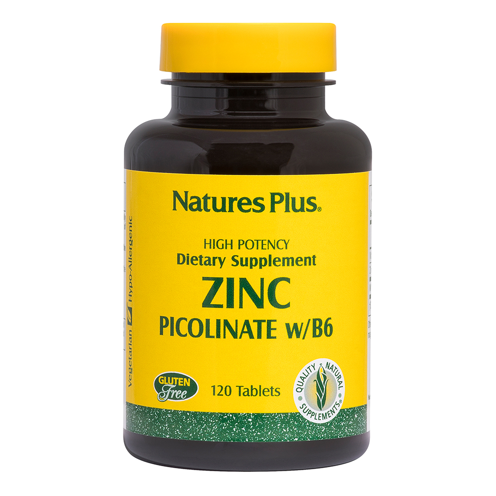Natures Plus Zinc Picolinate with B-6 30mg (Zink +t. B6) 120 Tabletten (122g)