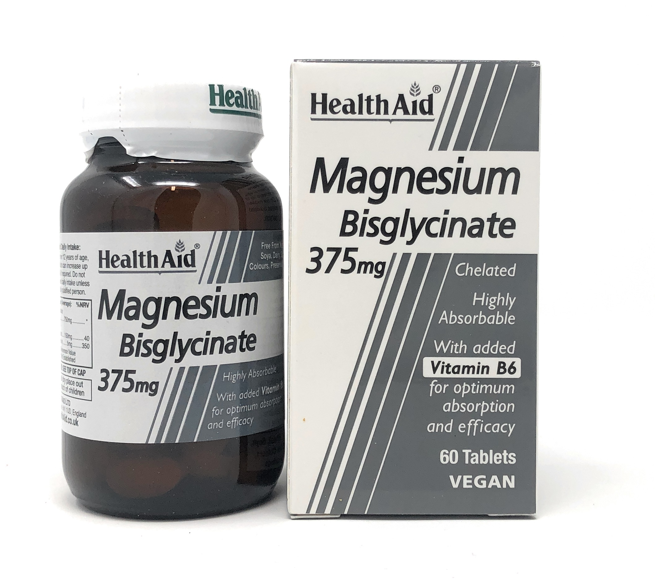 HealthAid Magnesium Bisglycinate 375mg with B6 60 Tabletten (vegan)