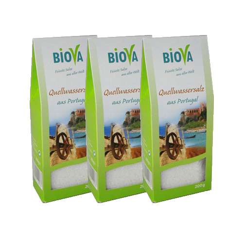 Biova Gourmetsalz Quellwassersalz aus Portugal 3x200g = 600g