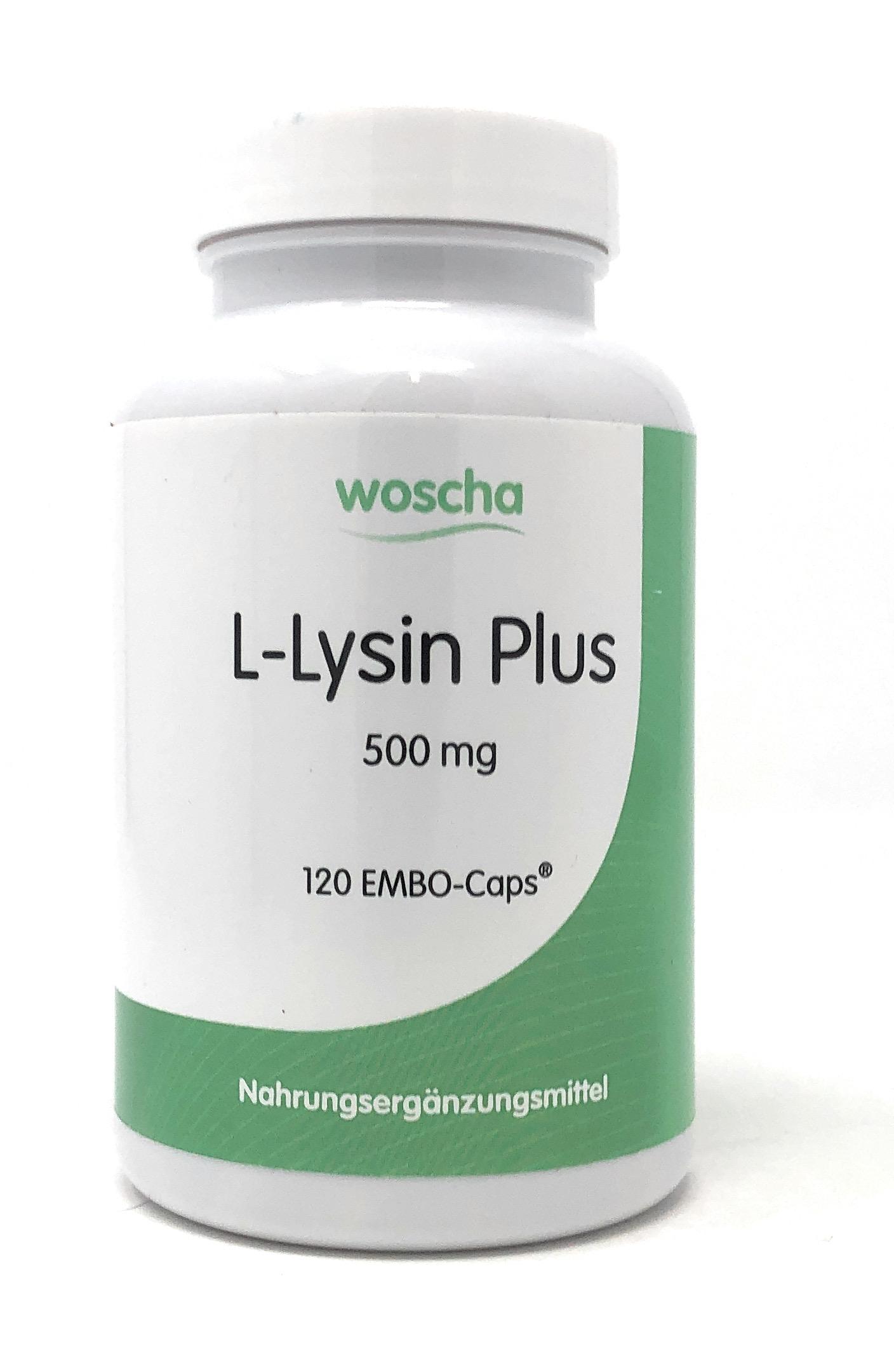 woscha L-Lysin Plus 500mg 120 Embo-Caps (99g) (vegan)