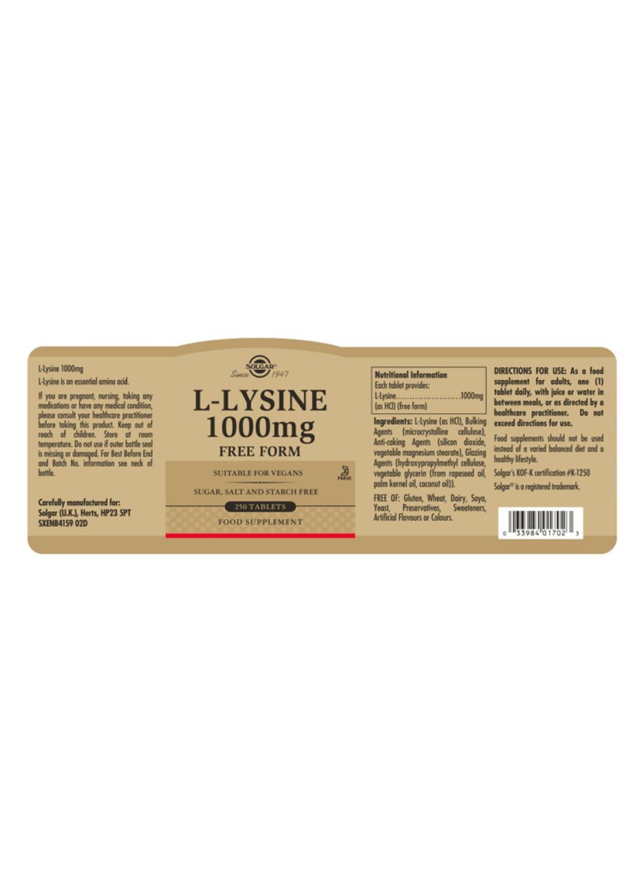 Solgar L-Lysine (Free Form) 1000mg 250 Tabletten (vegan)
