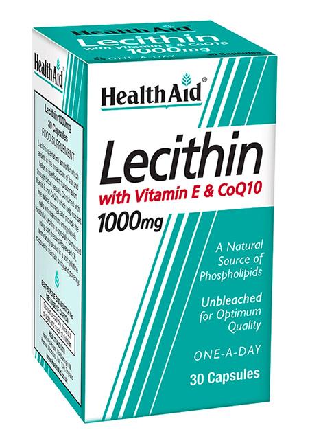 HealthAid Lecithin 1000mg + Vitamin E 45iu + CoQ 10 30 Kapseln