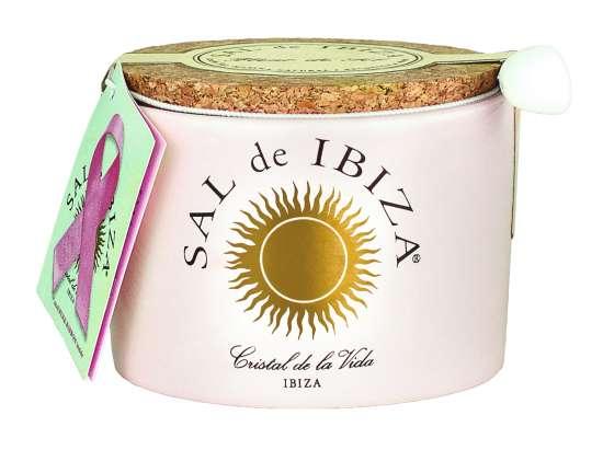 Sal de Ibiza Fleur de Sel Pink Ribbon - Lae en rose im Steintopf 150g
