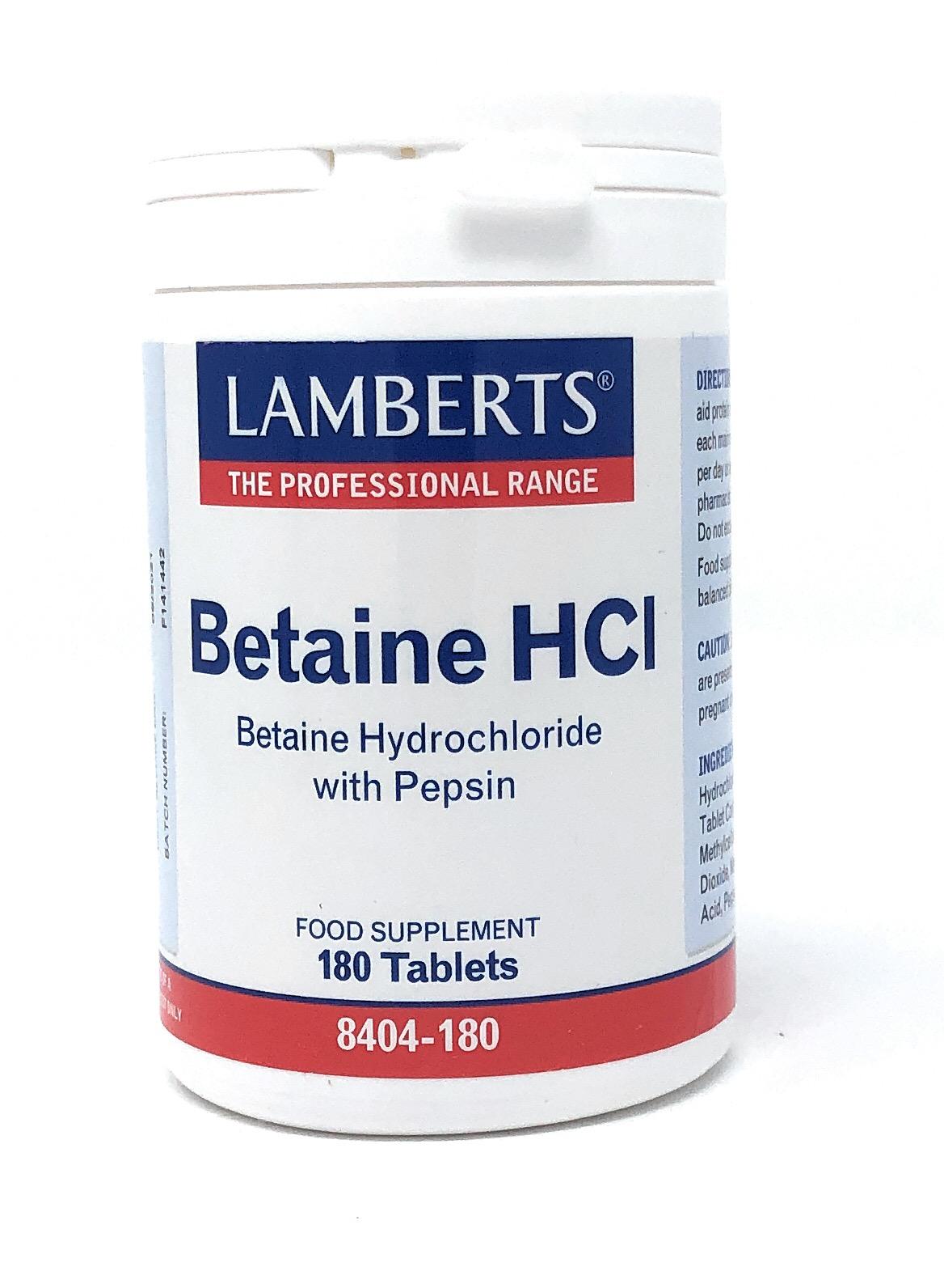 Lamberts Healthcare Ltd. BETAINE HCl 324mg/PEPSIN 5mg 180 Tabletten
