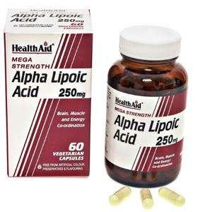 HealthAid Alpha Lipoic Acid 250mg  (Alpha-Liponsäure) 60 veg. Kapseln (vegan)