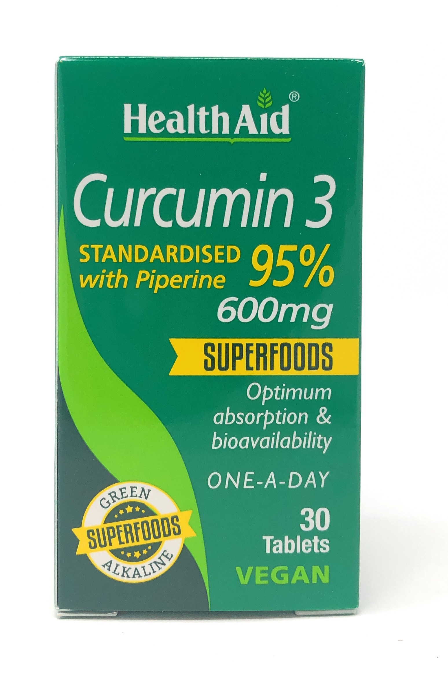 HealthAid Curcumin 3 600mg (Standardised 95% with Piperine) 30 Tabletten (vegan)