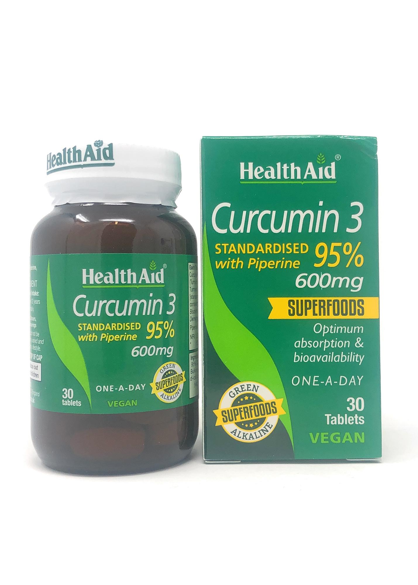 HealthAid Curcumin 3 600mg 30 Tabletten (vegan)