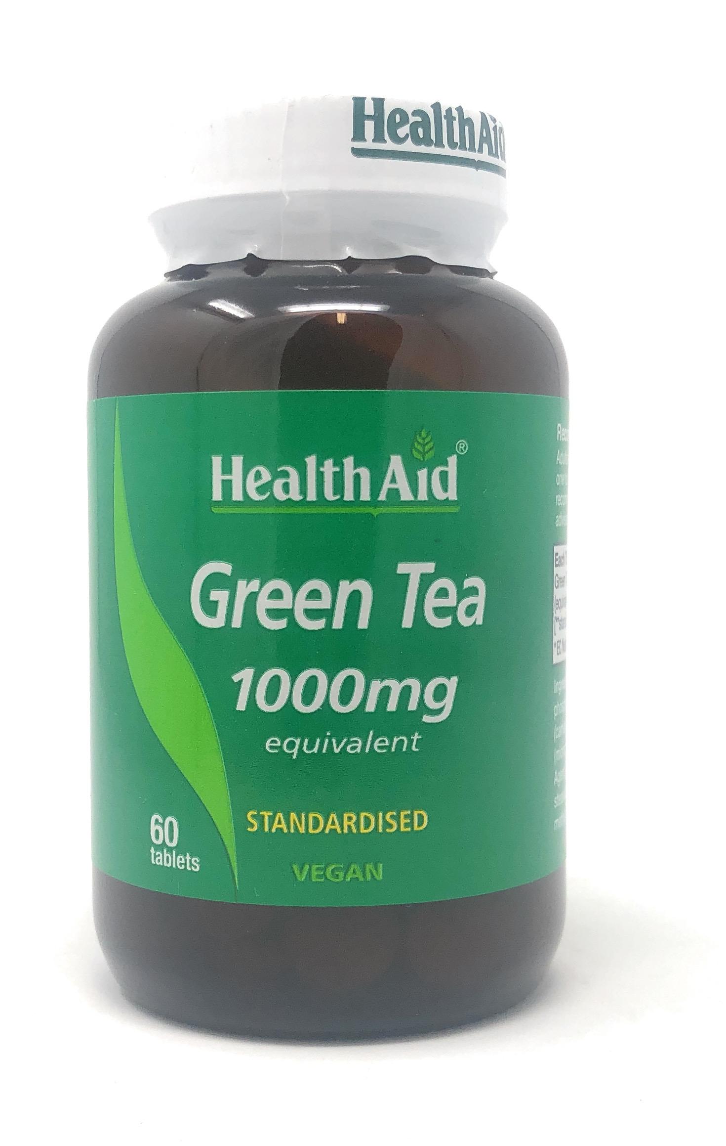 HealthAid Green Tea (Grüner Tee) Extract 1000mg equivalent (standardised) 60 Tabletten (vegan)