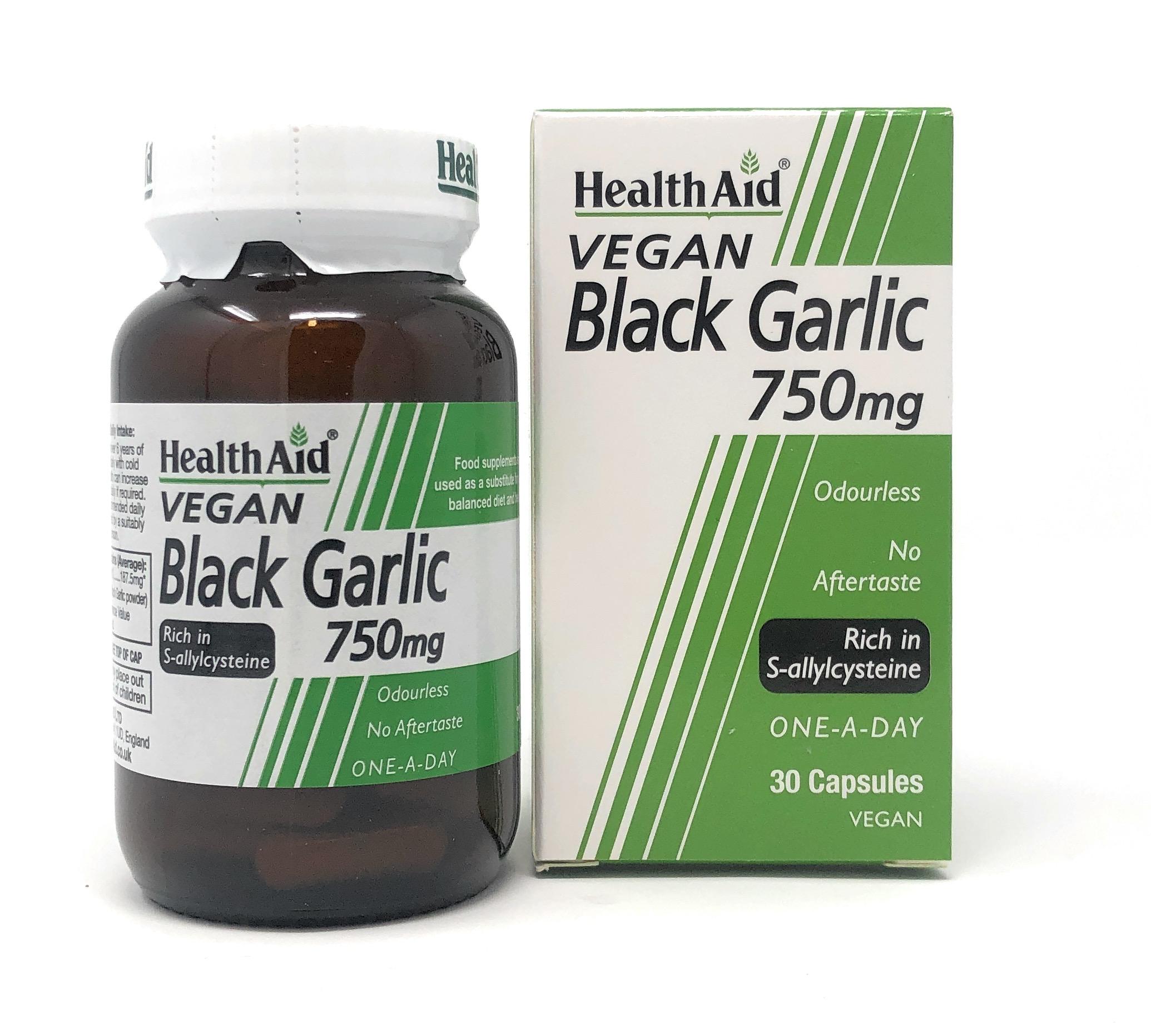 HealthAid Black Garlic 750mg 30 veg. Kapseln (vegan)
