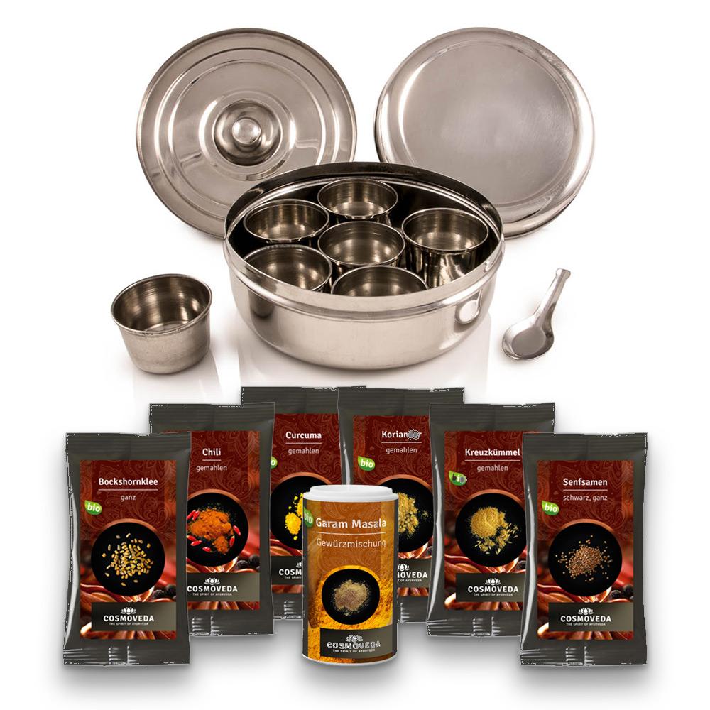 Masala Dabba - Masala Box mit 7 Cosmoveda BIO-Curry-Gewürzen