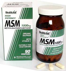 Health Aid MSM 1000mg  (Methyl-Sulfonyl-Methan) 90 veg. Tabletten