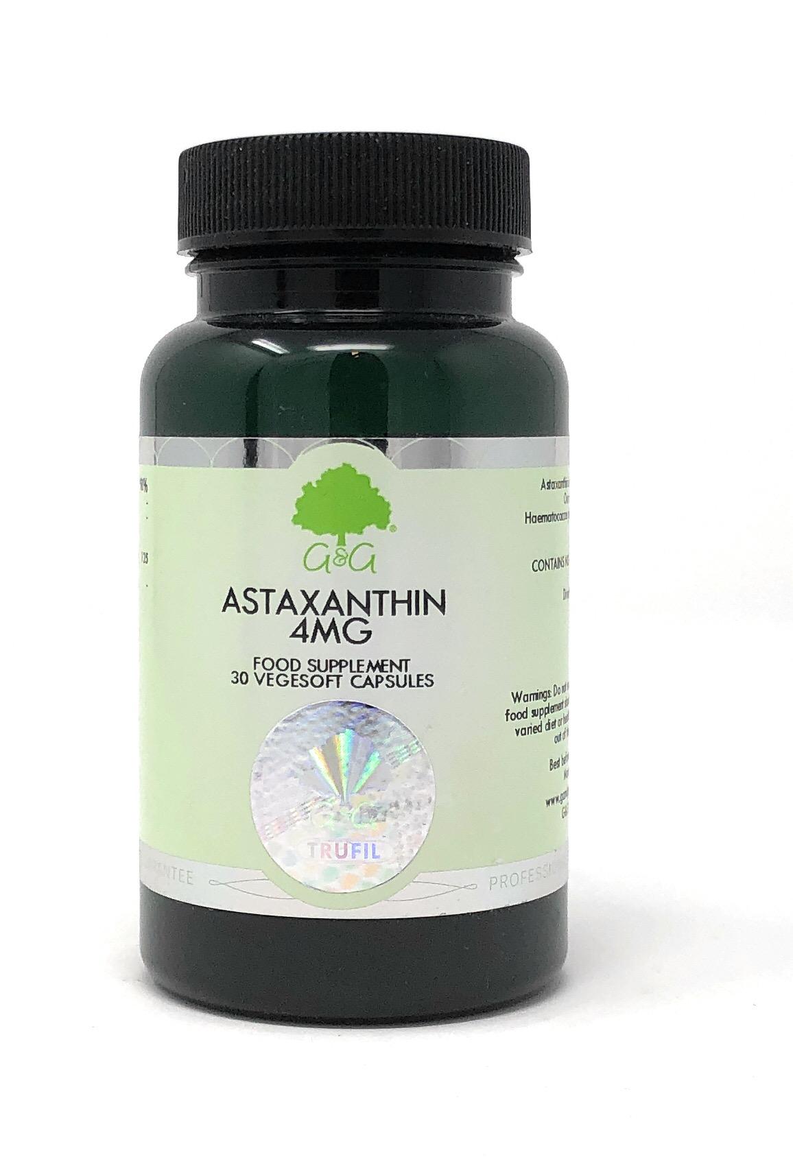G&G Vitamins Astaxanthin 4mg 30 veg. Kapseln (7,7g)  (Hitze-Sensitiv Kühlprodukt Vom Umtausch ausgeschlossen)