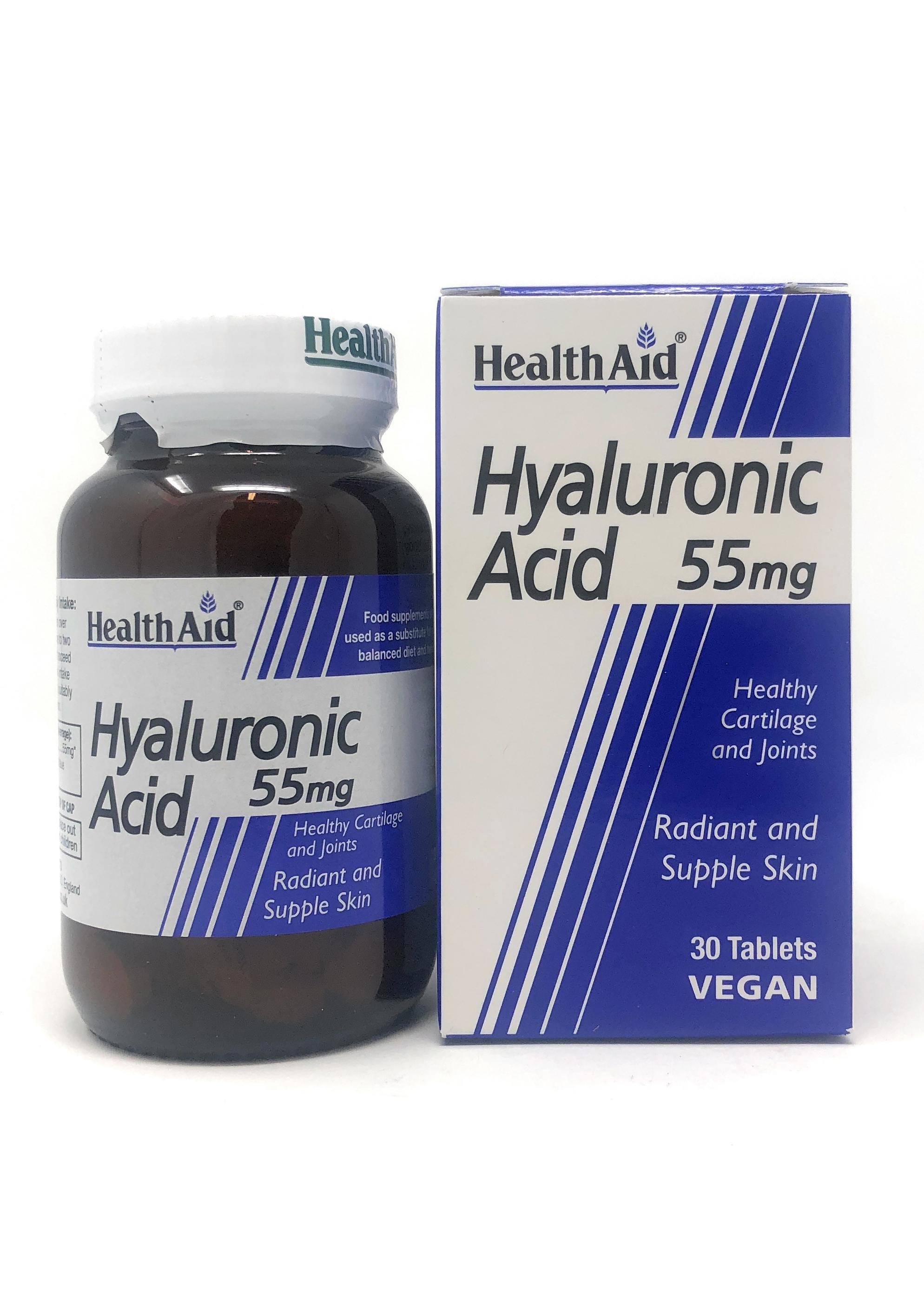 HealthAid Hyaluronic Acid 55mg (Hyaluronsäure) 30 Tabletten (vegan)