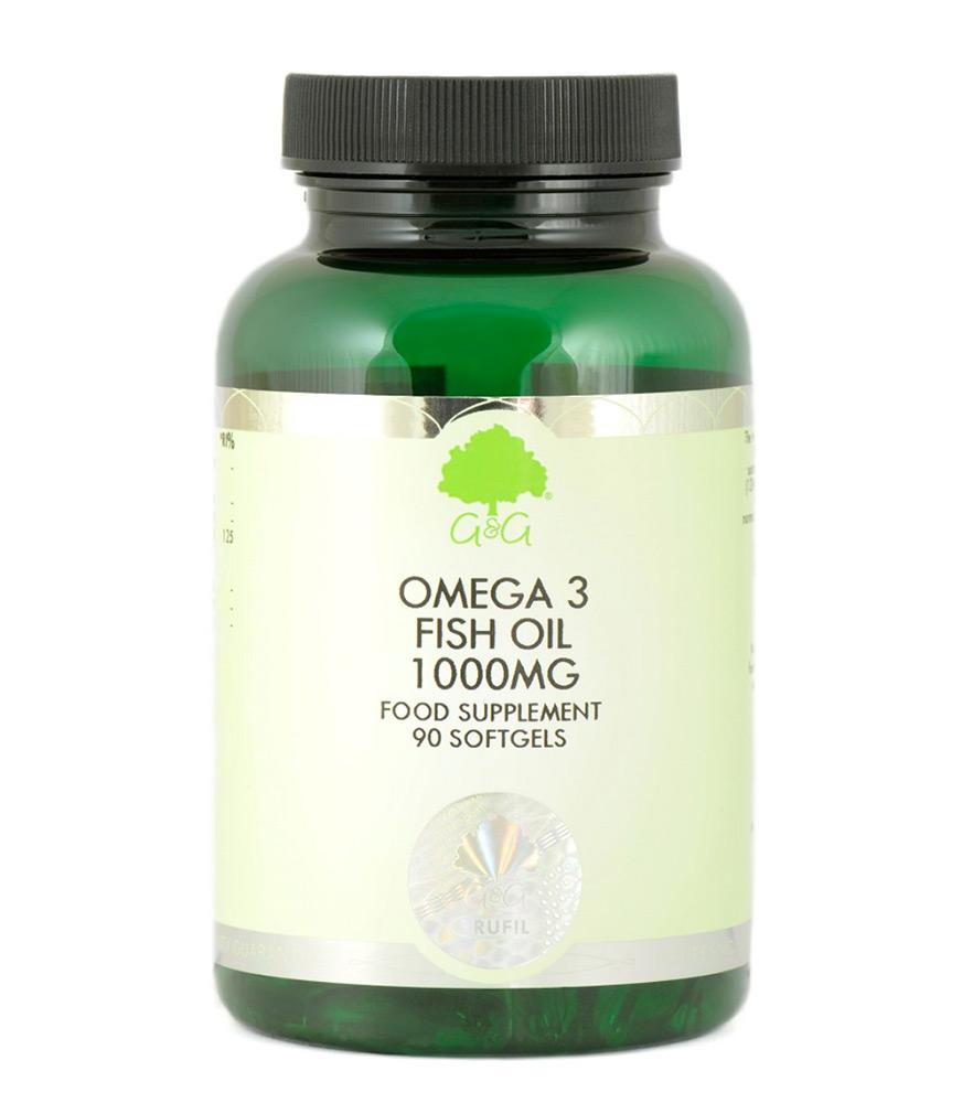 G&G Vitamins Omega 3 Fish Oil 1000mg 90 Softgels (120,6g)