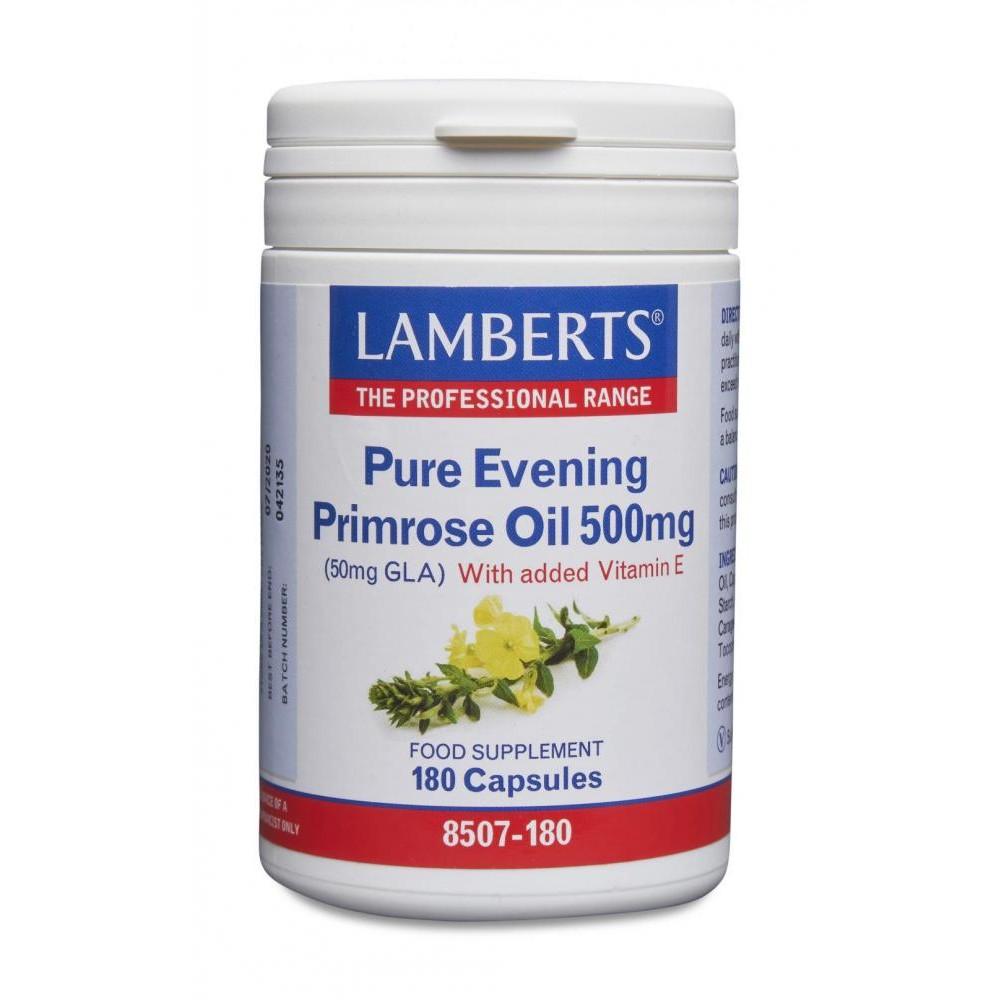 Lamberts Healthcare Pure Evening Primrose Oil [Nachtkerzenöl] 500mg (50mg GLA) 180 Kapseln