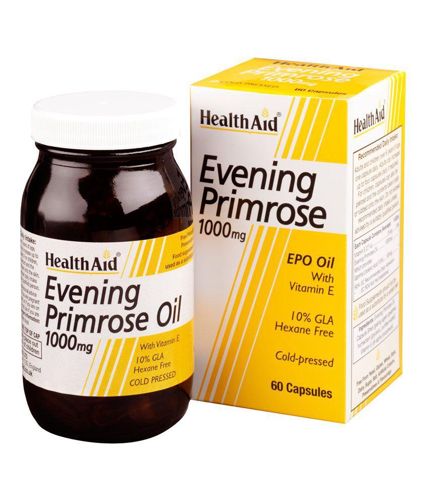 HealthAid Evening Primrose Oil 1000mg (Nachtkerzenöl) + Vitamin E 60 Weichgelatine-Kapseln