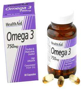 Health Aid Omega 3 750mg (EPA 425mg, DHA 325mg) 60 Softgels