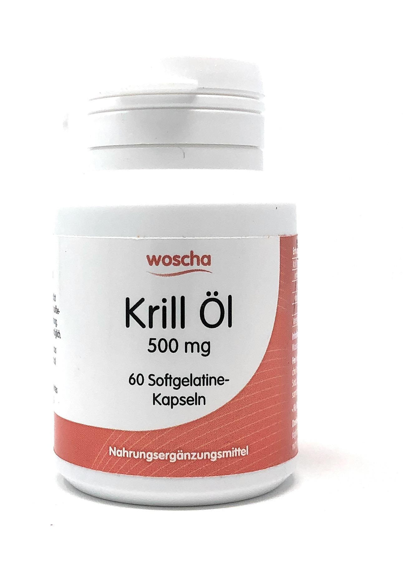 woscha Krill Öl 500mg 60 Kapseln aus Fischgelatine (35g)