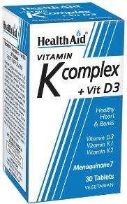 Health Aid Vit K Complex +Vit D3 (Menaquinone MK7) 30 Tabletten